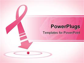 PowerPoint template displaying breast cancer awareness pink ribbon with arrow on pink background