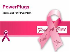 PowerPoint template displaying ribbon for a cure for breast cancer awareness in the background.
