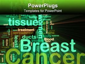 PowerPoint template displaying word cloud tags concept breast cancer glowing neon light style in the background.