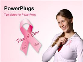 PowerPoint template displaying a pretty lady and a Breast Cancer Awareness ribbon