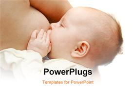 PowerPoint template displaying baby near breast over white