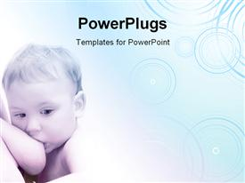 PowerPoint template displaying toddler baby boy breastfeeding. Good for background