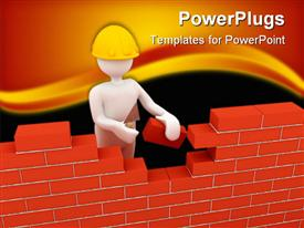 PowerPoint template displaying builder is building wall with bricks. a 3D depiction
