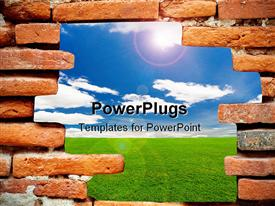 PowerPoint template displaying brick wall with opening showing green lawn and blue sky