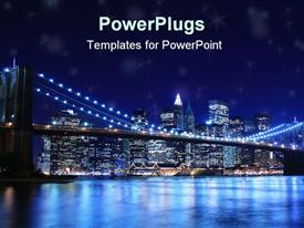 PowerPoint template displaying brooklyn bridge and new york city skyline at night
