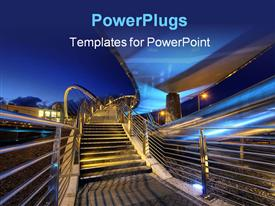 PowerPoint template displaying a number of stairs going upwards with bluish background
