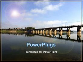 PowerPoint template displaying bridge over calm, reflective water, clear sky