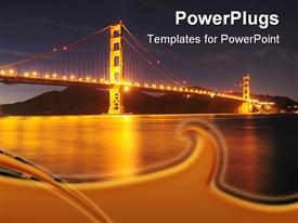 PowerPoint template displaying a beautiful depiction of the Golden Gate bridge at night