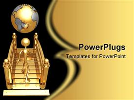 PowerPoint template displaying gold plated three dimensional man walking towards earth globe
