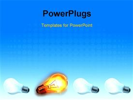PowerPoint template displaying one bright bulb in group on blue background