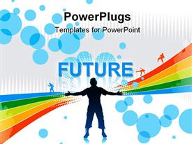 PowerPoint template displaying man raising his hands with rainbow wave background