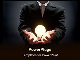 PowerPoint template displaying anonymous business man holds a light bulb metaphorically in his hands