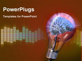 PowerPoint template displaying human brain inside a glowing electrical bulb. Digital depiction in the background.