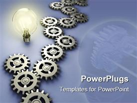 Light bulb and gear work concept. Digital illustration powerpoint design layout