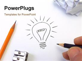 PowerPoint template displaying hand drawing light bulb on white surface with pencil and sharpener