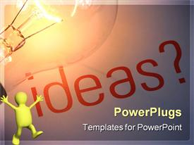 PowerPoint template displaying a figure happy because of a lot of ideas and bulb representing the idea