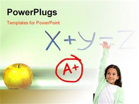 PowerPoint template displaying a kid with A+ grade and an apple