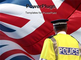 PowerPoint template displaying a policeman with british flag in the background