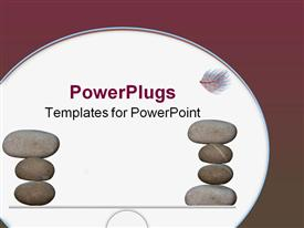 PowerPoint template displaying piles of balanced stones about to be upset by a falling feather in the background.