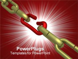 PowerPoint template displaying hanging chain. the 3D isolated depiction in the background.