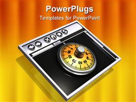 PowerPoint template displaying metallic combination lock dial sitting inside the window