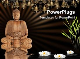PowerPoint template displaying meditating Buddha with lotus flowers on water, bamboo grass and bells