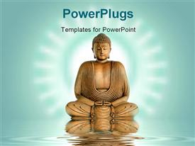 PowerPoint template displaying statue of Buddha meditating on water with ripples and glow in background