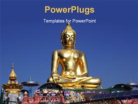 PowerPoint template displaying golden statue of Buddha and point of golden triangle over blue sky