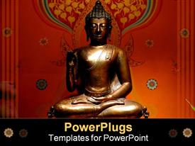PowerPoint template displaying buddha statue - landscape format