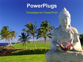 PowerPoint template displaying a statue of budha with a number of palm trees in the background