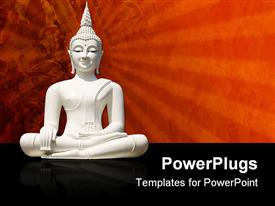 PowerPoint template displaying white Buddha statue, isolated