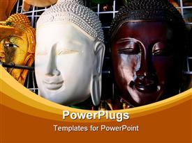 PowerPoint template displaying wooden Mask Of Buddha in Thailand in the background.