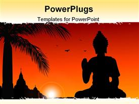 Statue of Buddha with temple at the background powerpoint template