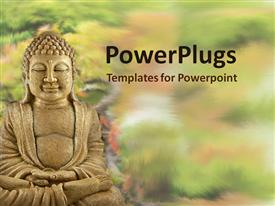 Buddha statue sitting in the garden presentation background
