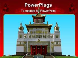 PowerPoint template displaying buddhist temple. A pagoda. front view on a background of the blue sky