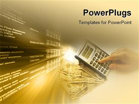 Calculating over a fan of money powerpoint design layout