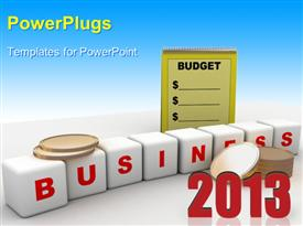 Computer rendered image of budget and business powerpoint theme