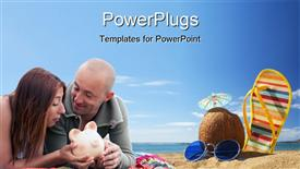 Budget holidays - young couple holding a piggy bank powerpoint template