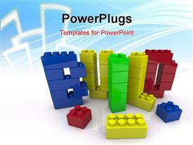 PowerPoint template displaying a number of building blocks in various colors