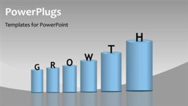 PowerPoint template displaying the representation of growth in the form of a chart