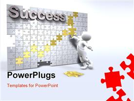 PowerPoint template displaying 3D man solving success jigsaw puzzle with red, gold and white pieces