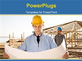 PowerPoint template displaying building engineer at construction site inspects floor plan of house