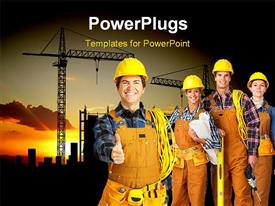 PowerPoint template displaying construction worker gestures for handshake with team and heavy equipments behind