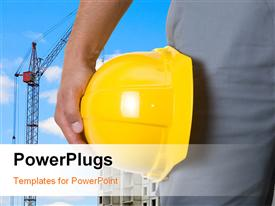 PowerPoint template displaying a construction workers hand holding a yellow construction cap