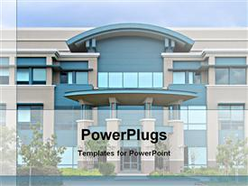 PowerPoint template displaying large blue and beige office building with landscaping