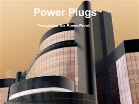 PowerPoint template displaying large modern building with beige background