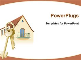 PowerPoint template displaying partial depiction of designed house and two keys attached to a key ring on white background