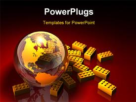 PowerPoint template displaying yellow leggo building blocks surrounding transparent earth globe on red surface
