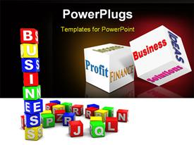 PowerPoint template displaying lots of colorful alphabet blocks with a text that spells out the word