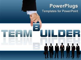 PowerPoint template displaying business people with briefcases over blue and white background with text TEAM BUILDER